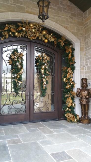 Front door with garland