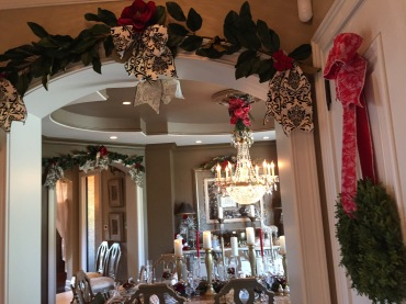 Dining room decorated with garland
