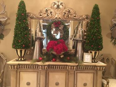 Mini Christmas trees on desk
